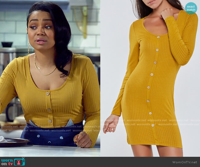 Rainbow Rib Knit Long Sleeve Bodycon Dress worn by Randi (Kyla Pratt) on Call Me Kat