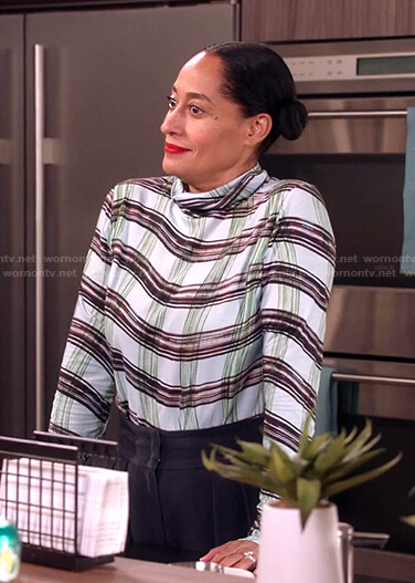 Rainbow's blue check turtleneck top on Black-ish