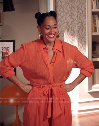 Rainbow's orange blouse and tie waist pants on Black-ish