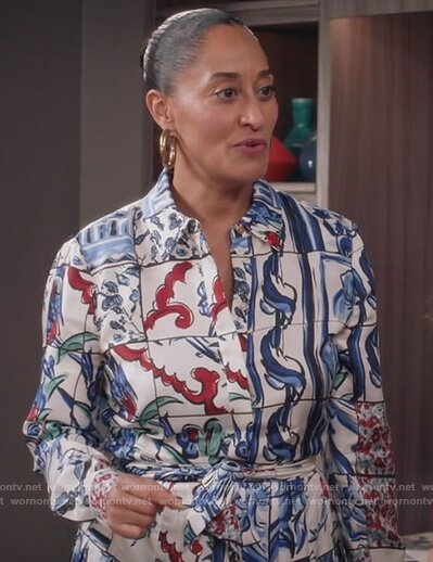 Rainbow's white floral print shirtdress on Black-ish