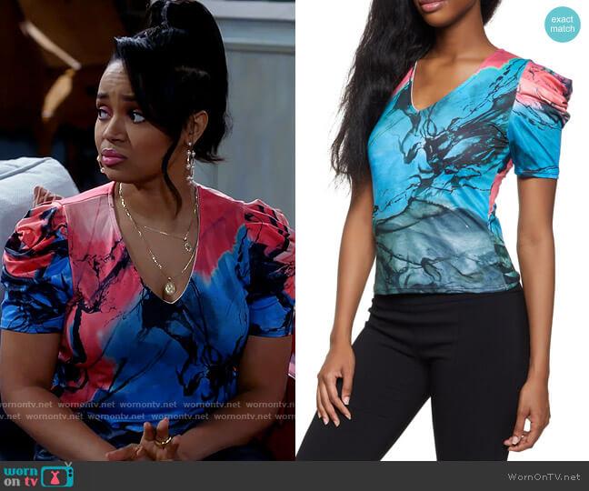 Rainbow Printed Puff Sleeve Top worn by Randi (Kyla Pratt) on Call Me Kat