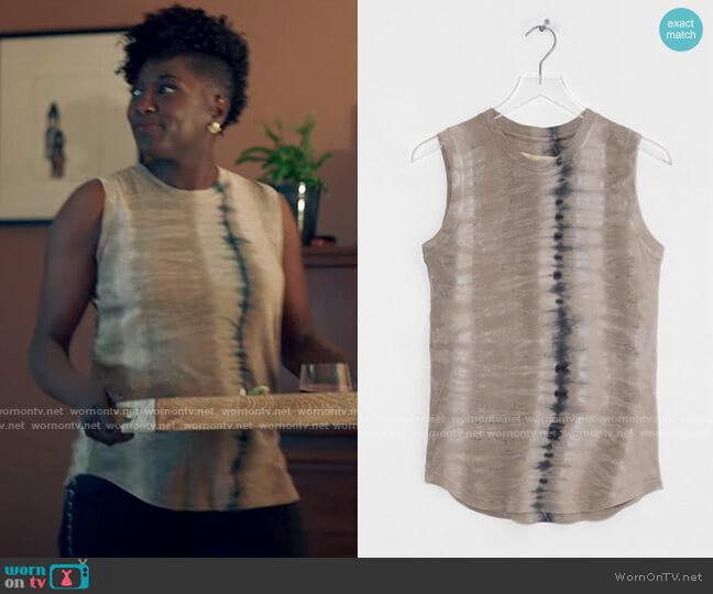 Raquel Allegra Muscle Tee in Sand Camo Tie Dye worn by Nova Bordelon (Rutina Wesley) on Queen Sugar