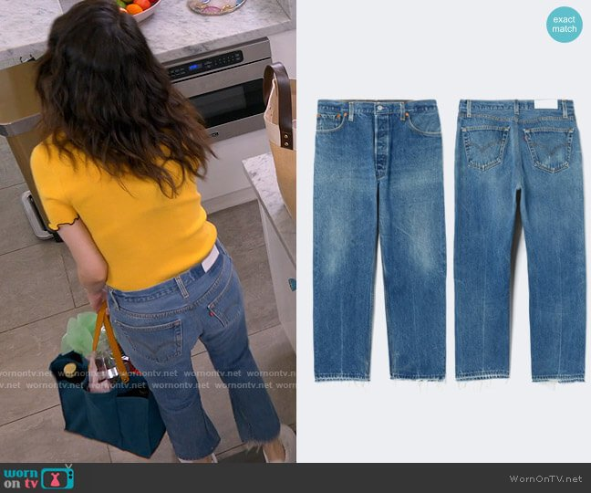 Re/Done x Levis Stovepipe Jeans worn by Selena Gomez  on Selena + Chef