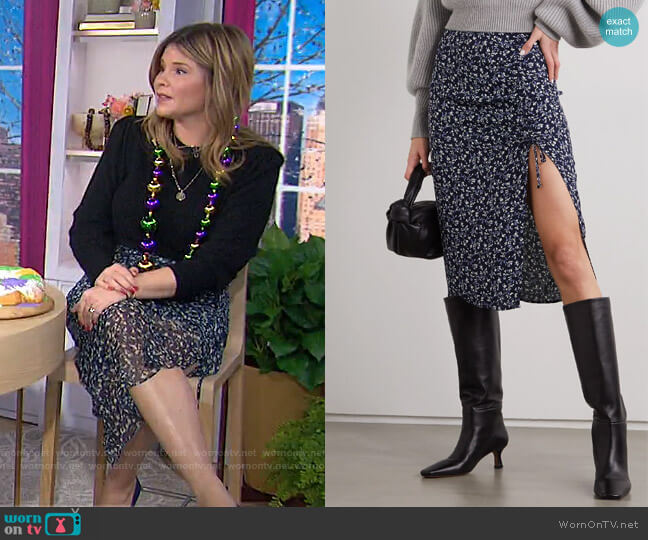 Prose Floral-Print Crepe Midi Skirt by Reformation worn by Jenna Bush Hager  on Today