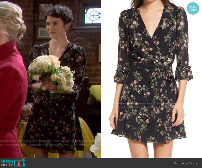 Zoe Wrap Dress by Reformation worn by Sarah Horton (Linsey Godfrey) on Days of our Lives