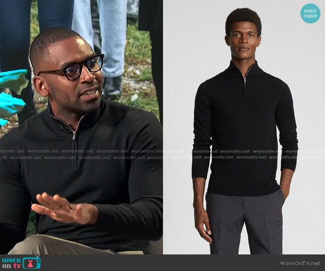 Blackhall Quarter Zip Sweater by Reiss worn by Justin Sylvester  on E! News