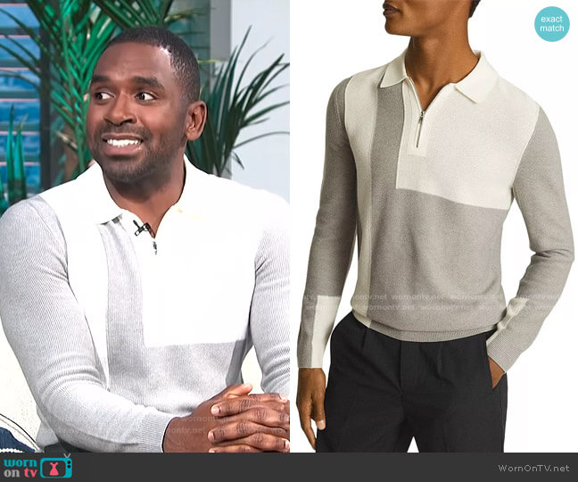 Braydon Colorblock Half Zip Polo by Reiss worn by Justin Sylvester  on E! News