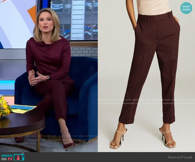 Freya Trousers in Berry by Reiss worn by Amy Robach  on Good Morning America