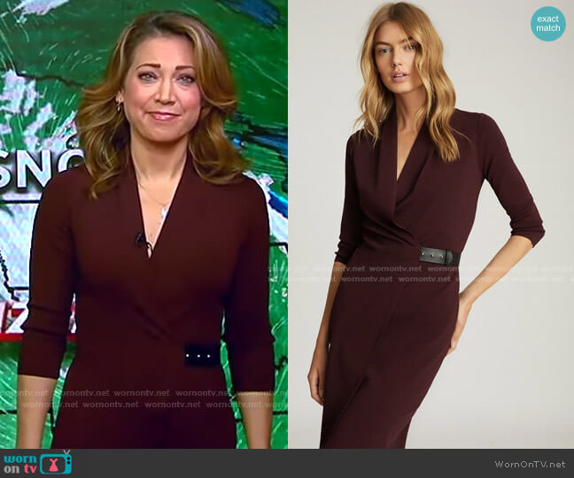 Luisa Knitted Wrap Dress by Reiss worn by Robin Roberts  on Good Morning America