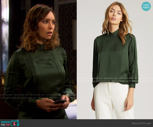 Sarah High Neck Blouse by Reiss worn by Gwen Rizczech (Emily O'Brien) on Days of our Lives