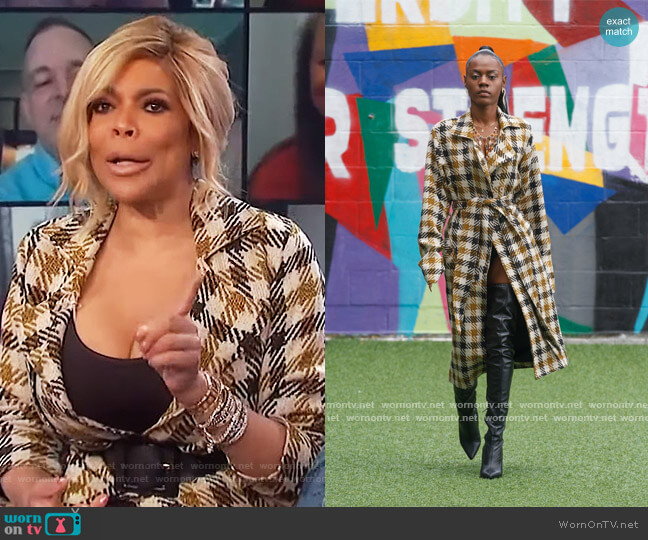 North Bergen Plaid Trench Coat by Reyjateh worn by Wendy Williams  on The Wendy Williams Show