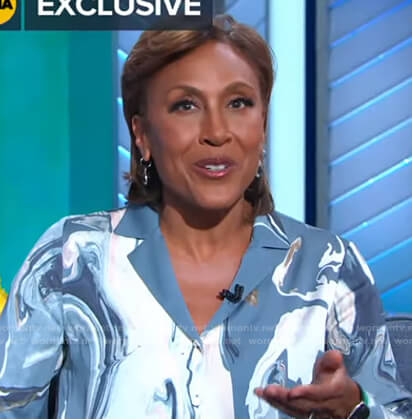 Robin's blue marbled blouse on Good Morning America