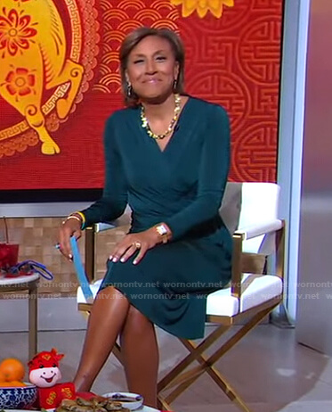 Robin's green ruched dress on Good Morning America