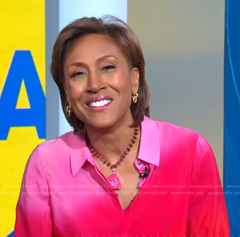 Robin's pink dip-dye shirt on Good Morning America