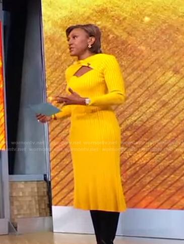 Robin's yellow ribbed cutout dress on Good Morning America