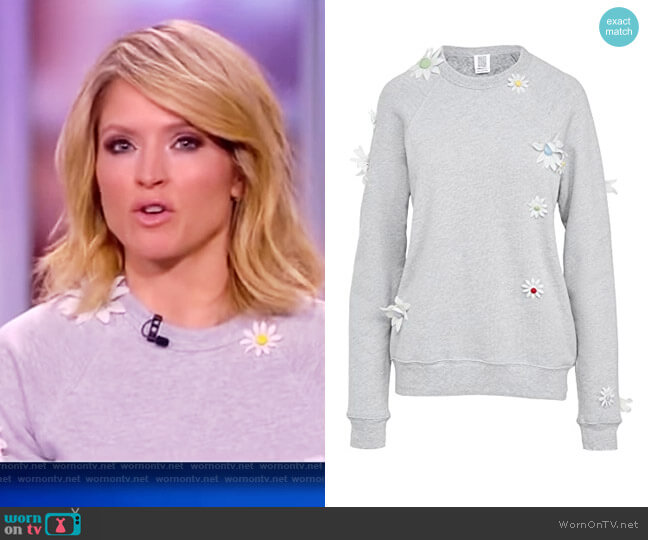 Removable Daisies Sweatshirt by Rosie Assoulin worn by Sara Haines  on The View