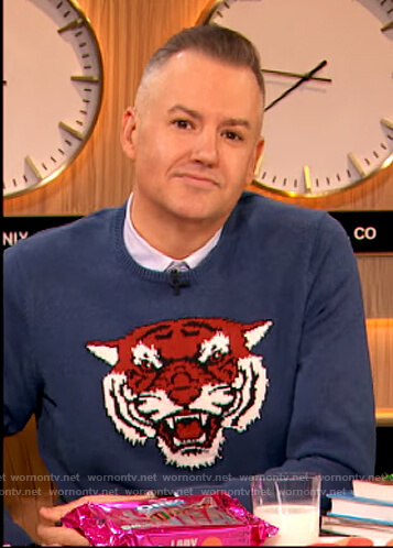 Ross Mathews's blue tiger sweater on The Drew Barrymore Show