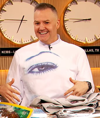 Ross Mathews's eye print sweater on The Drew Barrymore Show