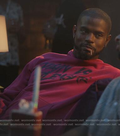 Aaron's pink pain is pleasure hoodie on Grown-ish