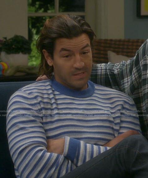 Ryan's blue striped sweater on Last Man Standing