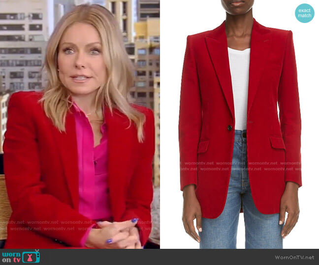 Cord Blazer by Saint Laurent worn by Kelly Ripa  on Live with Kelly & Ryan