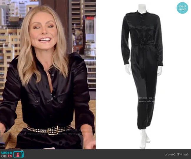 Silk Long Sleeve Jumpsuit by Saint Laurent worn by Kelly Ripa  on Live with Kelly & Ryan