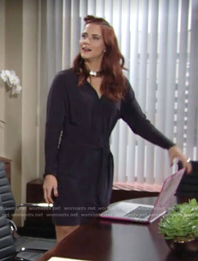 Sally's navy tie-waist shirtdress on The Young and the Restless