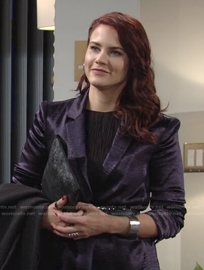 Sally's purple satin blazer on The Young and the Restless