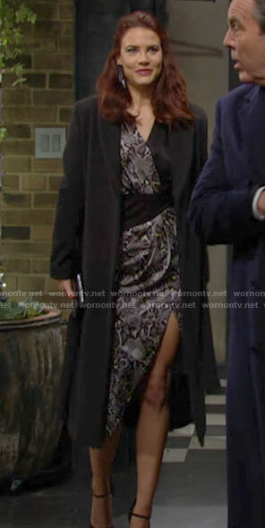 Sally's draped snake print dress on The Young and the Restless