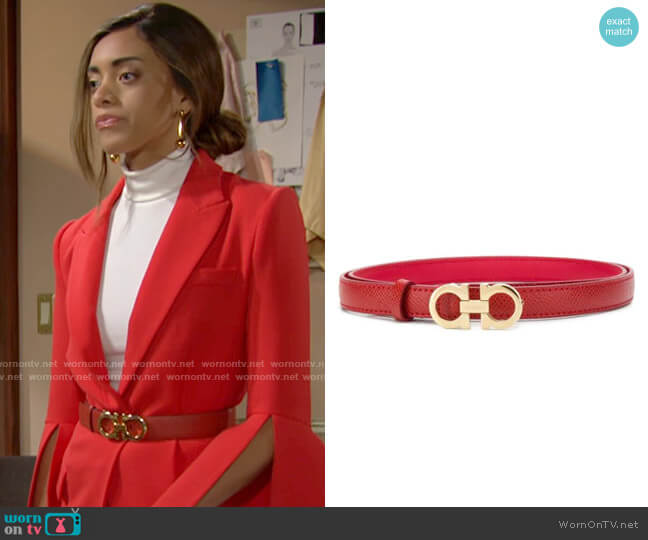 Salvatore Ferragamo Double Gancio Belt worn by Zoe (Kiara Barnes) on The Bold & the Beautiful