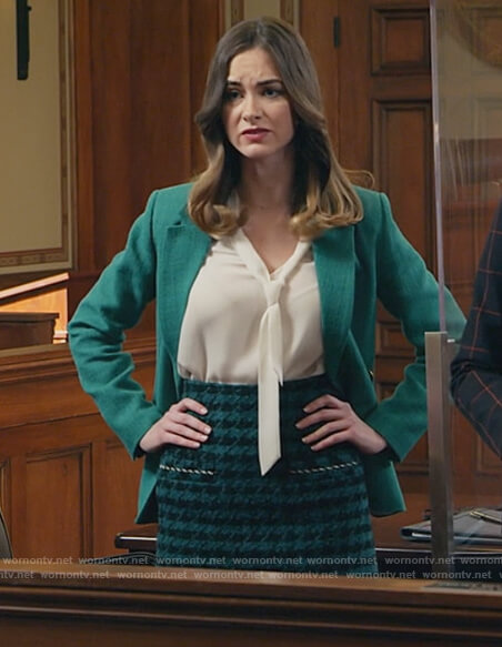 Sam's green houndstooth skirt and blazer on All Rise