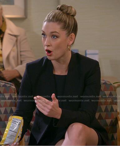 Samantha's black collarless jacket on B Positive