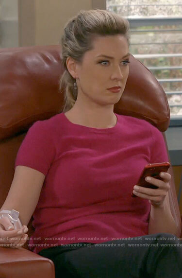Samantha's pink short sleeved sweater on B Positive