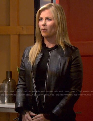 Sami's black ruffle neck sweater and leather jacket on Days of our Lives