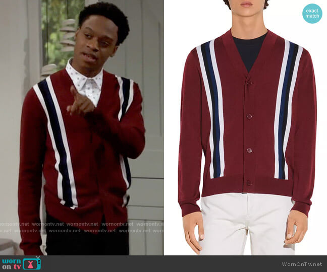 Sandro College Wool Striped Button Cardigan worn by Lane (Austin Crute) on Call Your Mother