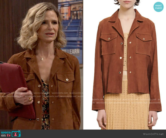 Sandro Jonhy Suede Shirt Jacket worn by Jean Raines (Kyra Sedgwick) on Call Your Mother