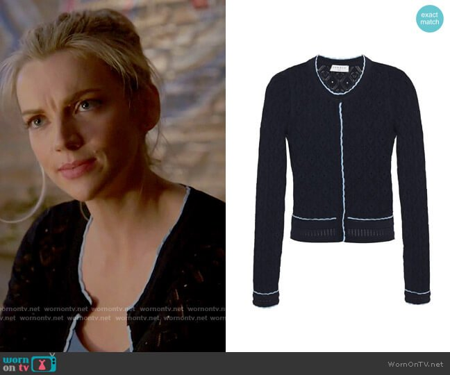 Sandro Bomi Openwork Geo-Pattern Sweater worn by Sylvie Brett (Kara Killmer) on Chicago Fire