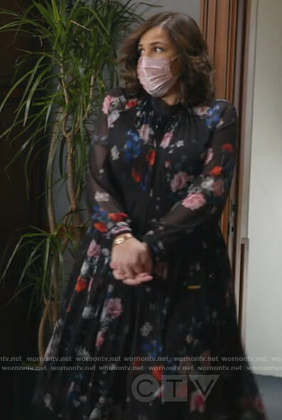 Sara's black floral pleated dress on All Rise