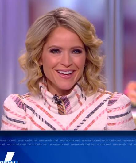 Sara's white chevron stripe blouse on The View