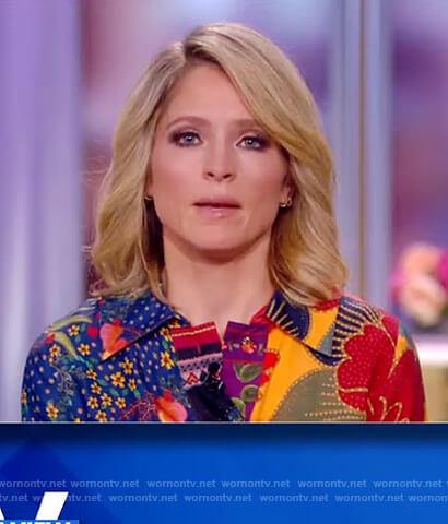 Sara's mixed print shirtdress on The View
