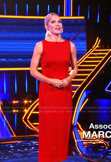 Sara's red sleeveless pintuck-waist dress on The Chase