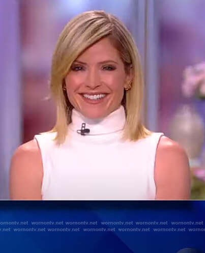 Sunny's white turtleneck sleeveless sweater on The View