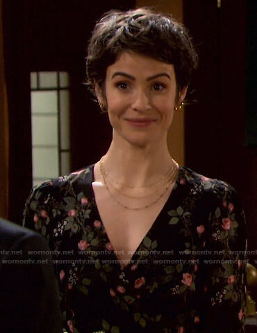Sarah's black floral wrap mini dress on Days of our Lives