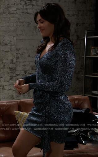 Britt's metallic wrap mini dress on General Hospital