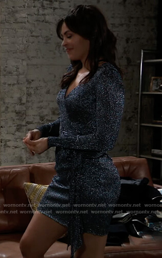 Sasha's metallic wrap mini dress on General Hospital