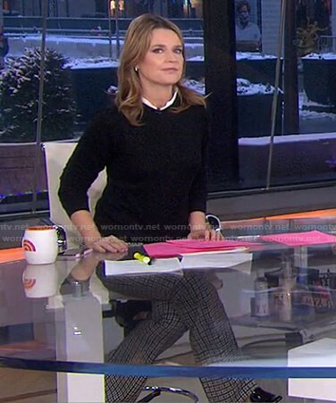 Savannah's black lace trim sweater on Today