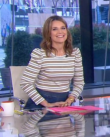 Savannah's striped puff sleeve top and skirt on Today