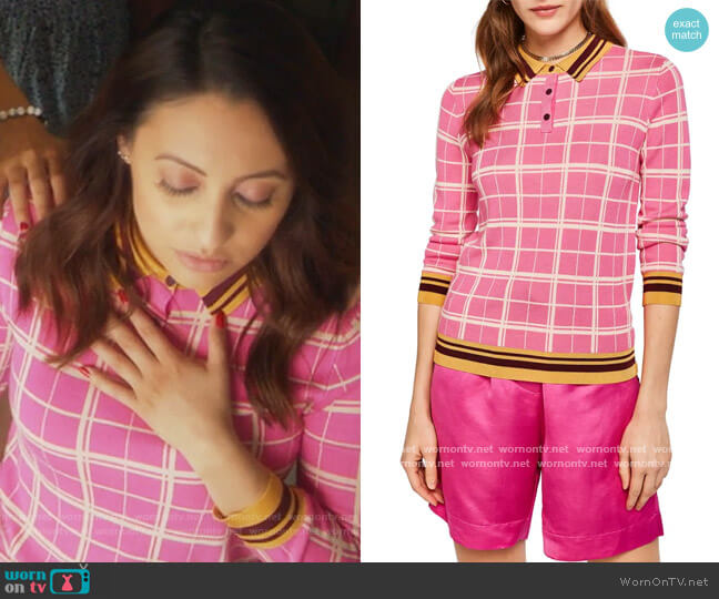 Knit Polo Top by Scotch & Soda worn by Ana Torres (Francia Raisa) on Grown-ish