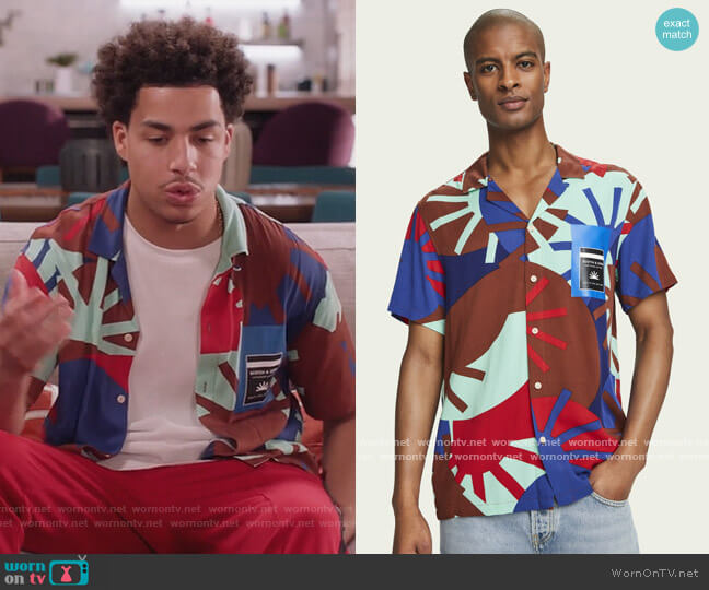 Lightweight printed short sleeve shirt by Scotch & Soda worn by Andre Johnson Jr (Marcus Scribner) on Blackish