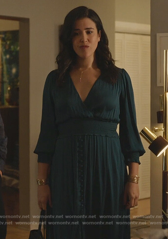 Shannon's teal surplice dress on Kims Convenience